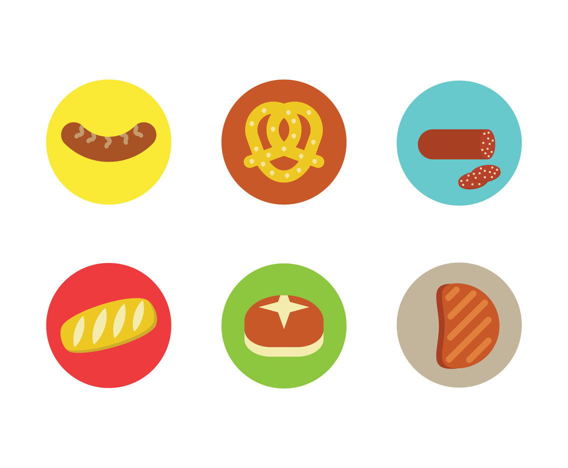 Bavarian Food Icons Vector