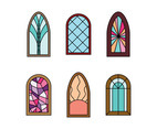 Set Of Religious Stained Windows