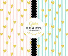 Golden Hearts Vector Background