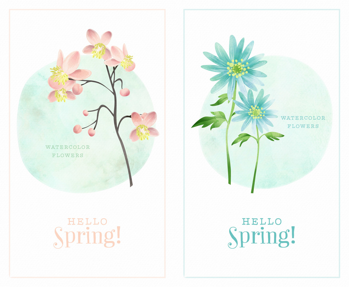 Spring Watercolor Flowers Vector