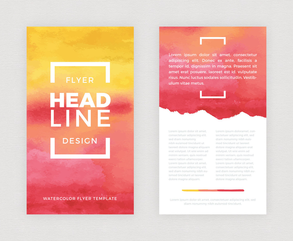 Flyer Watercolor Design Vector Template