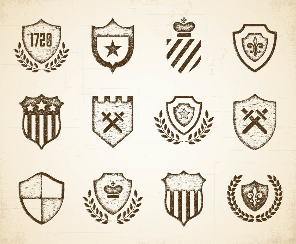 Vintage Etched Shields Vectors