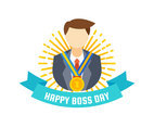 Beautiful National Boss Day Set Vectors