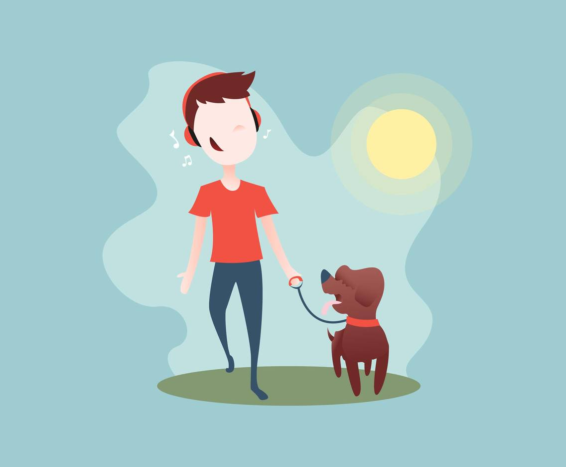 Boy And His Dog Illustration Vector
