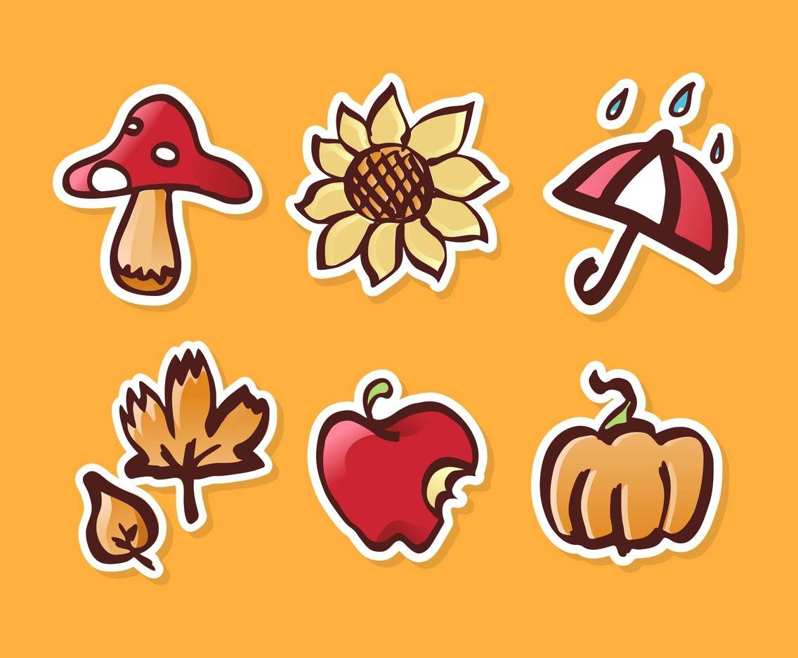 Fall Festival Autumn Stickers Vector