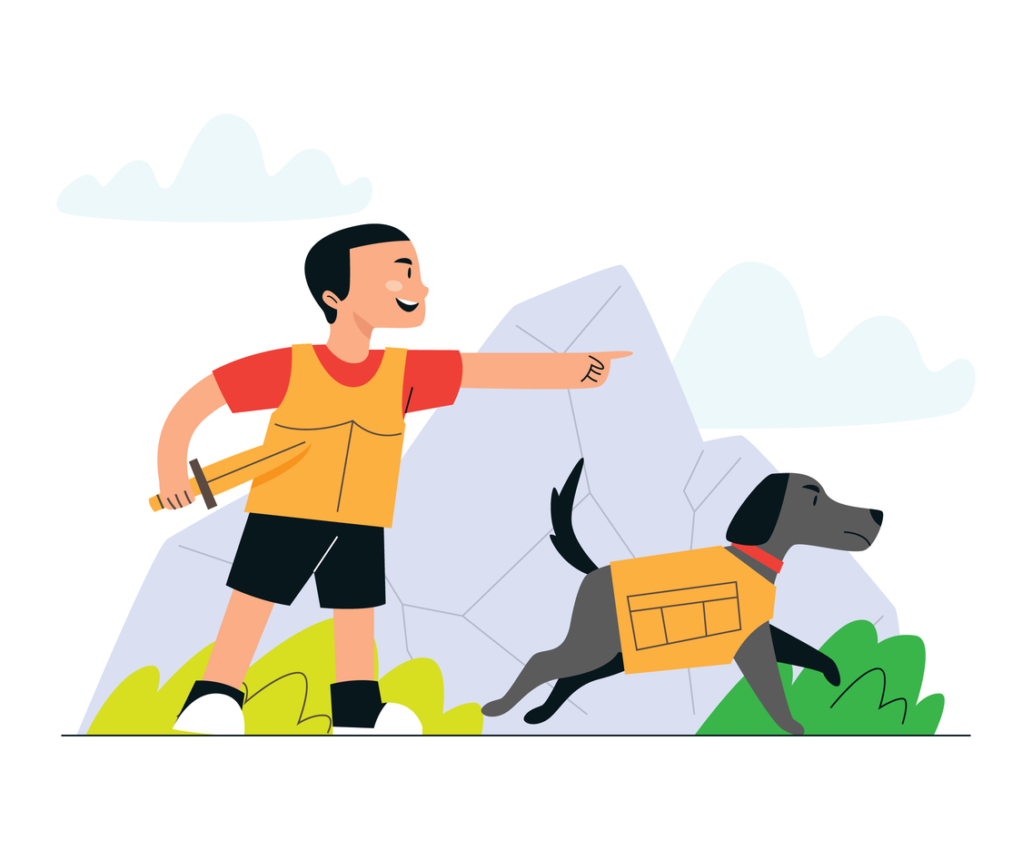 Boy Adventure With His Dog