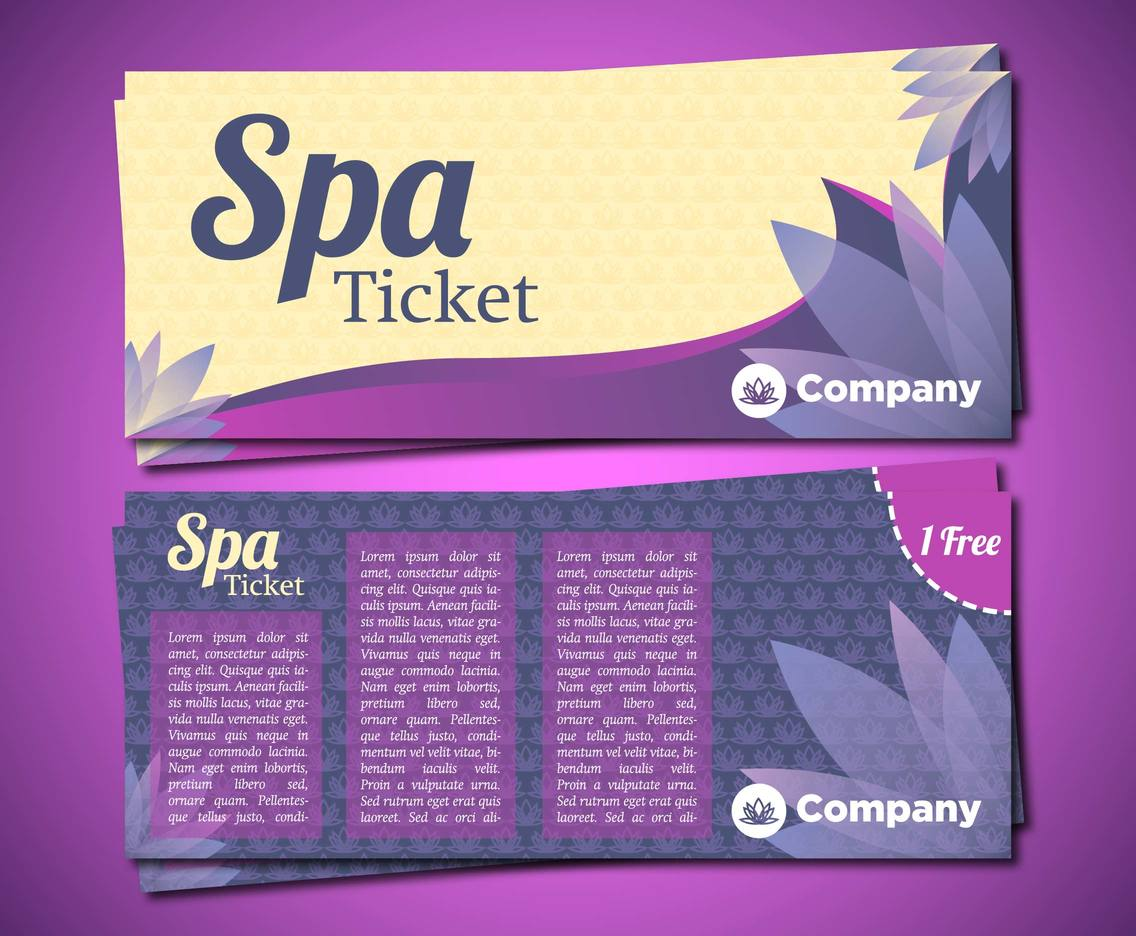 Spa Tickets Template Vector