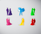 Bride and Groom Stickers Silhouette