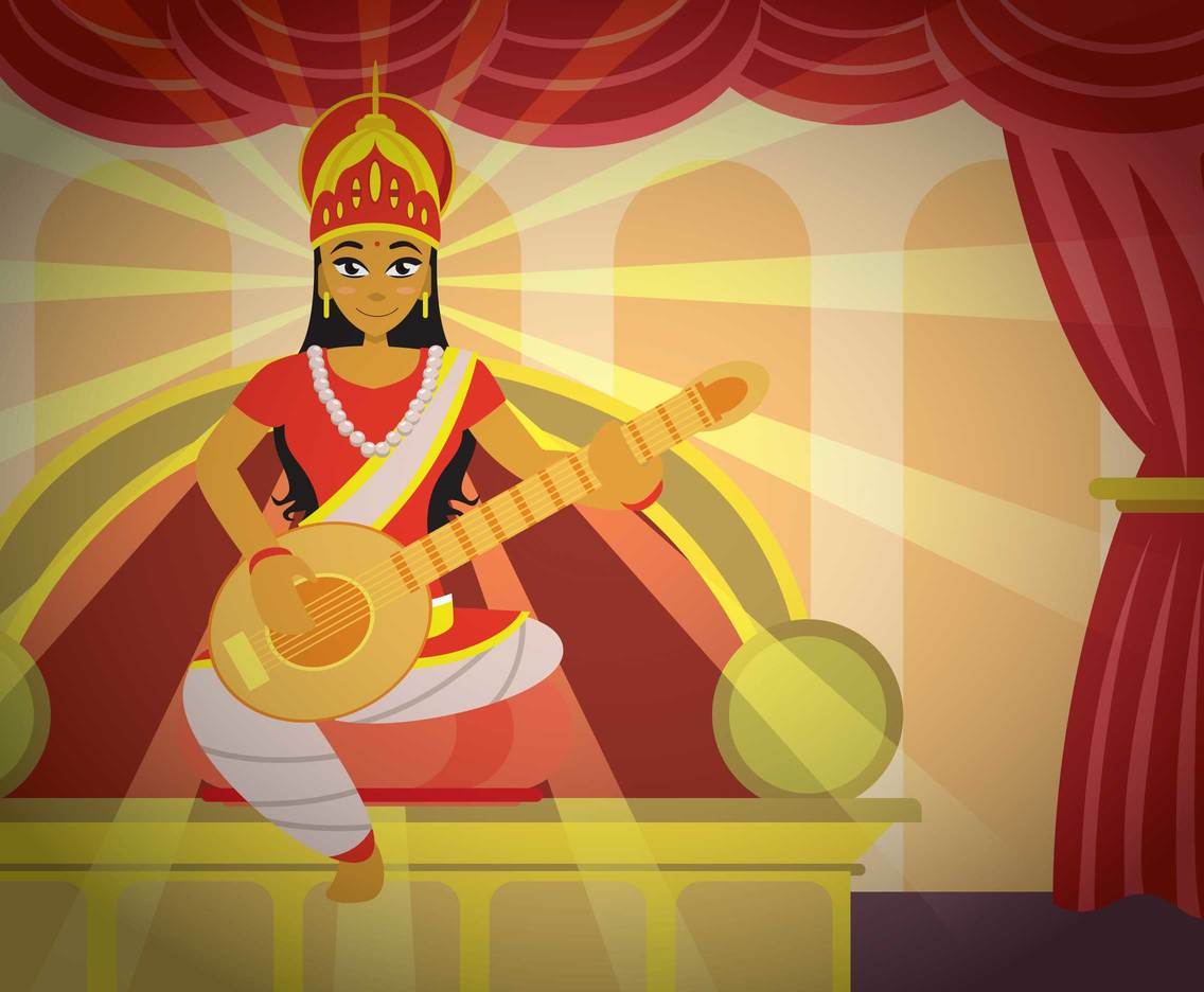 Free Saraswati Hindu God Of India Illustration