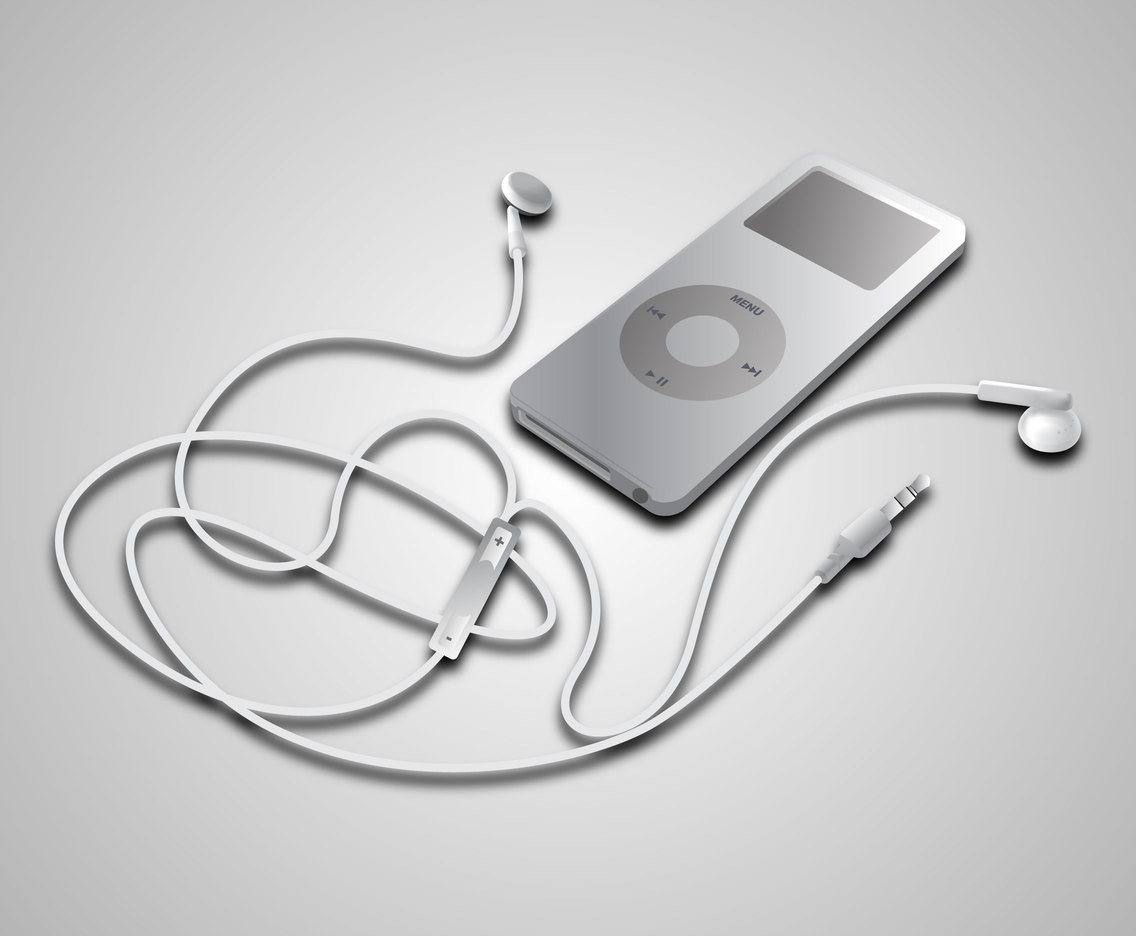 Earphone and iPod Vector Mockup