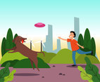 Playing Frisbee with Dog Vector