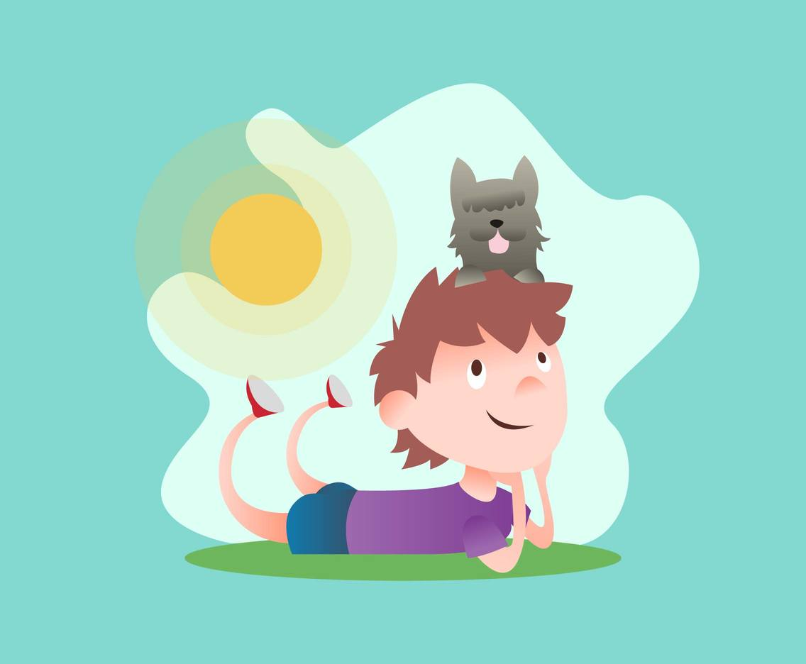 Boy And His Dog Illustration Vector #3