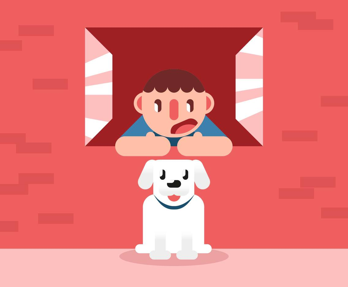 Boy And His Dog Illustration Vector #4
