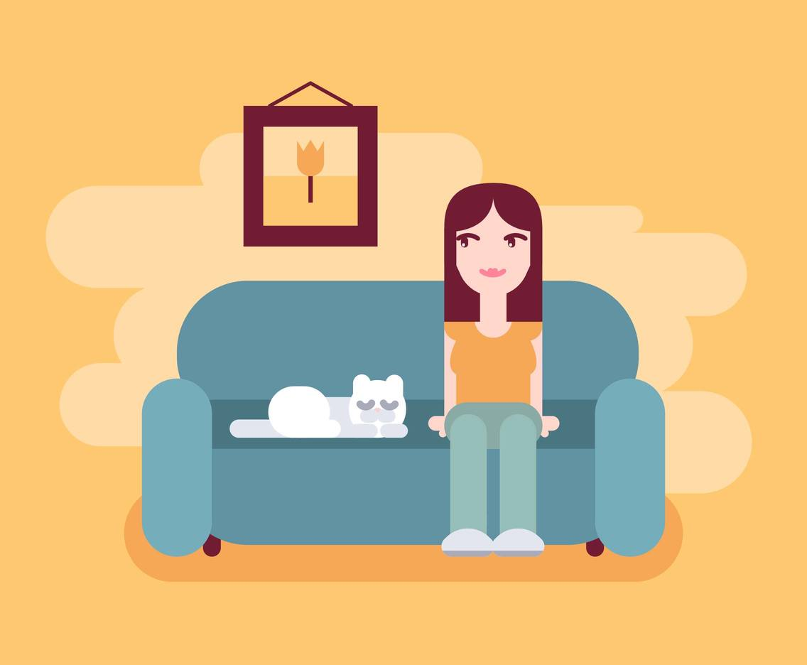 Girl And Her Cat Illustration Vector #2
