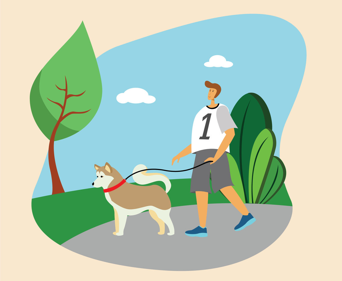 Morning Walk with the Dog Vector