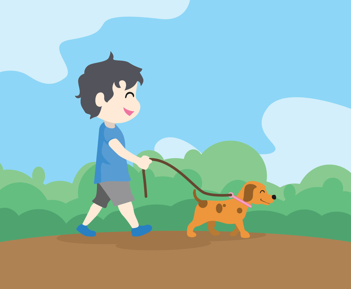 Walking with a Puppy Vector