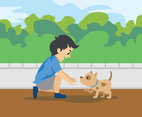 Playing with a Dog Vector