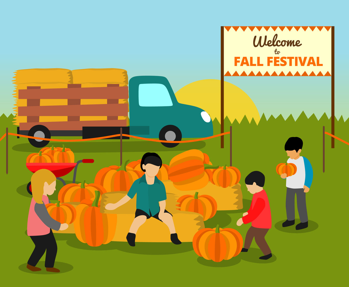 Kids and Pumpkins in Fall Festival Vector