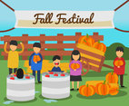 Kids in Fall Festival Vector