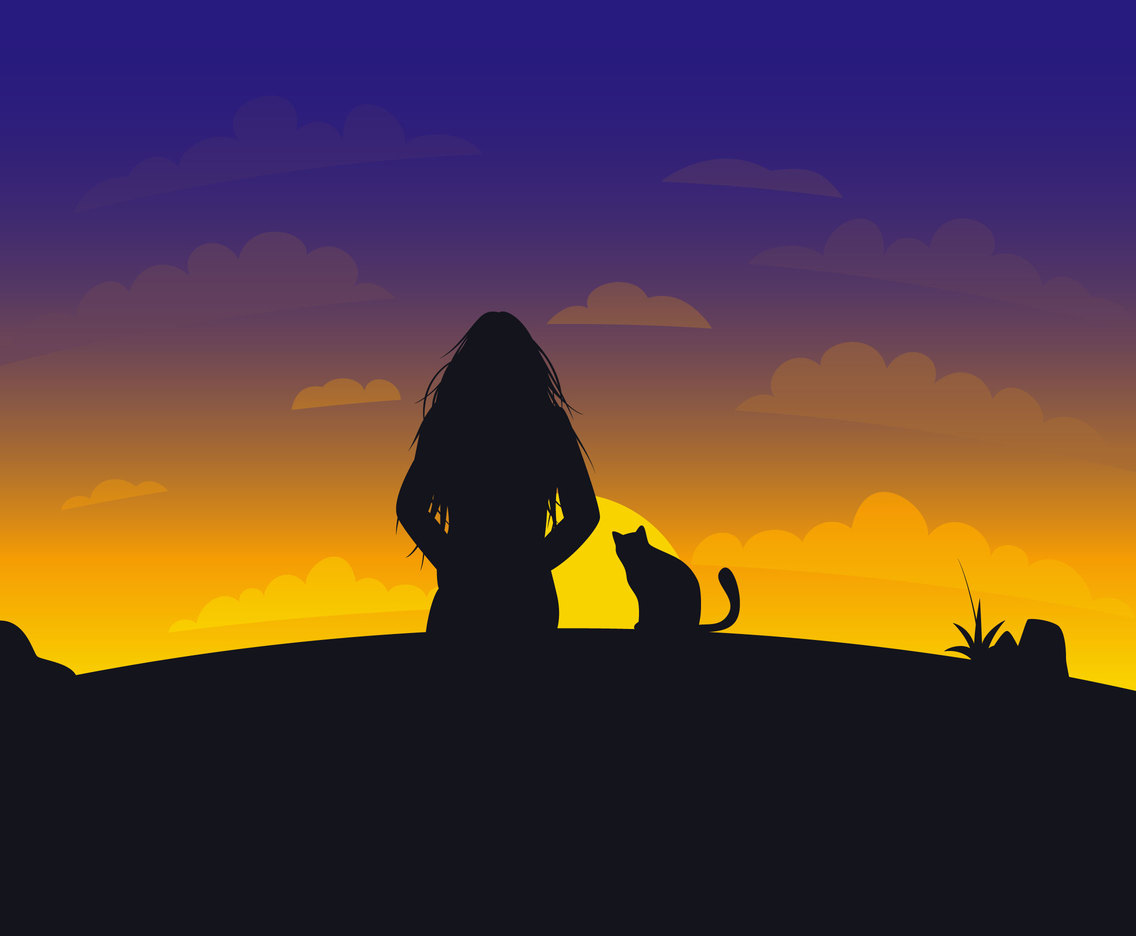 Beautiful Girl And Her Cat Set Vectors