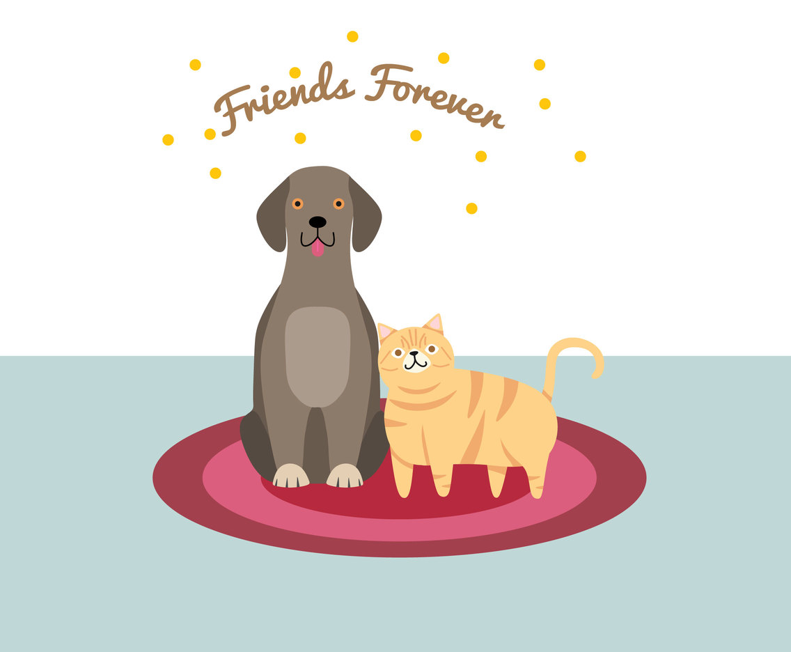 Cat and Dog Friendship Vector