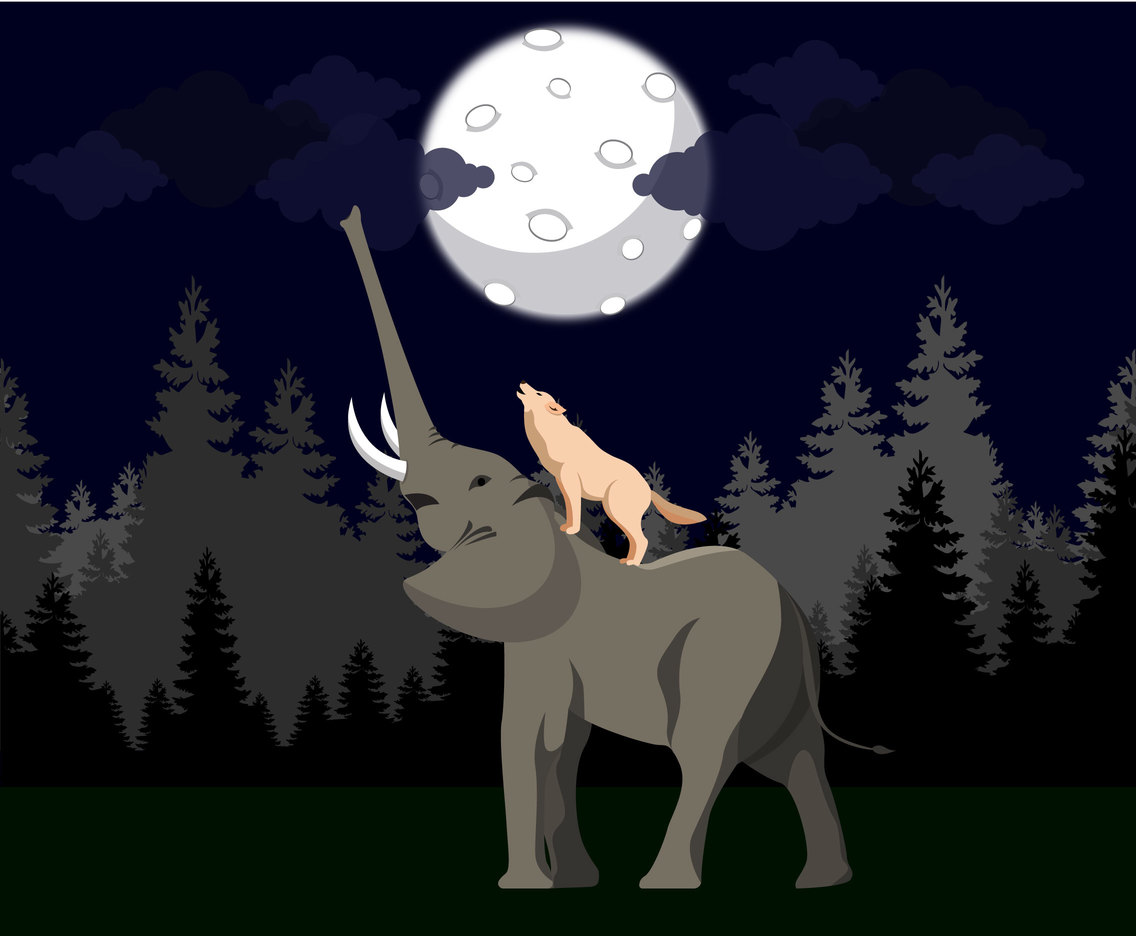 Elephant and Wolf Vector