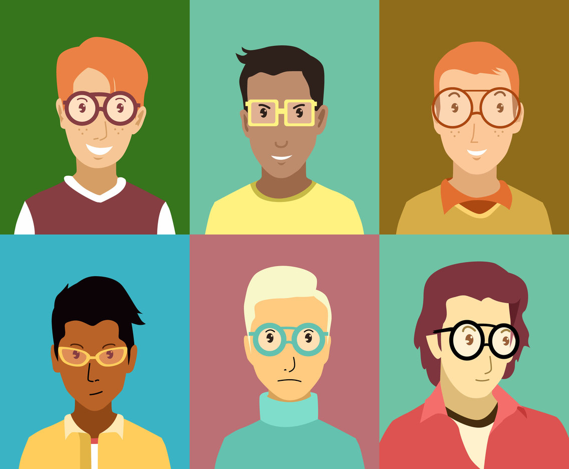 Nerd Boy Avatars Vector