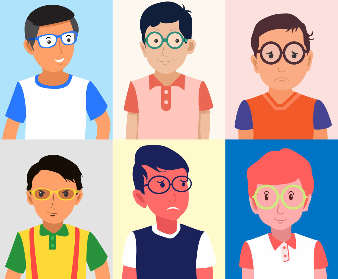 Kids with Glasses Vector
