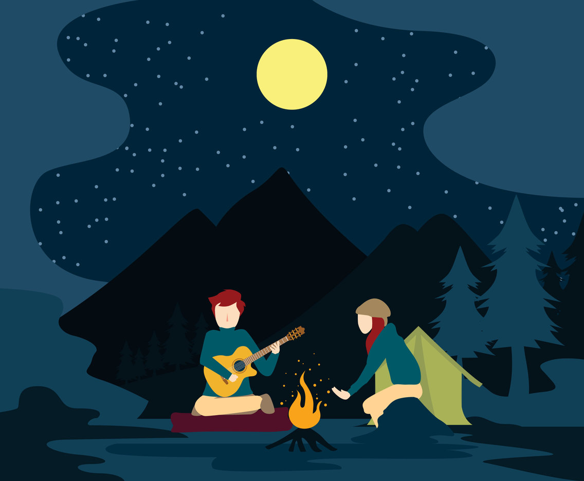 Play Music around Campfire Vector