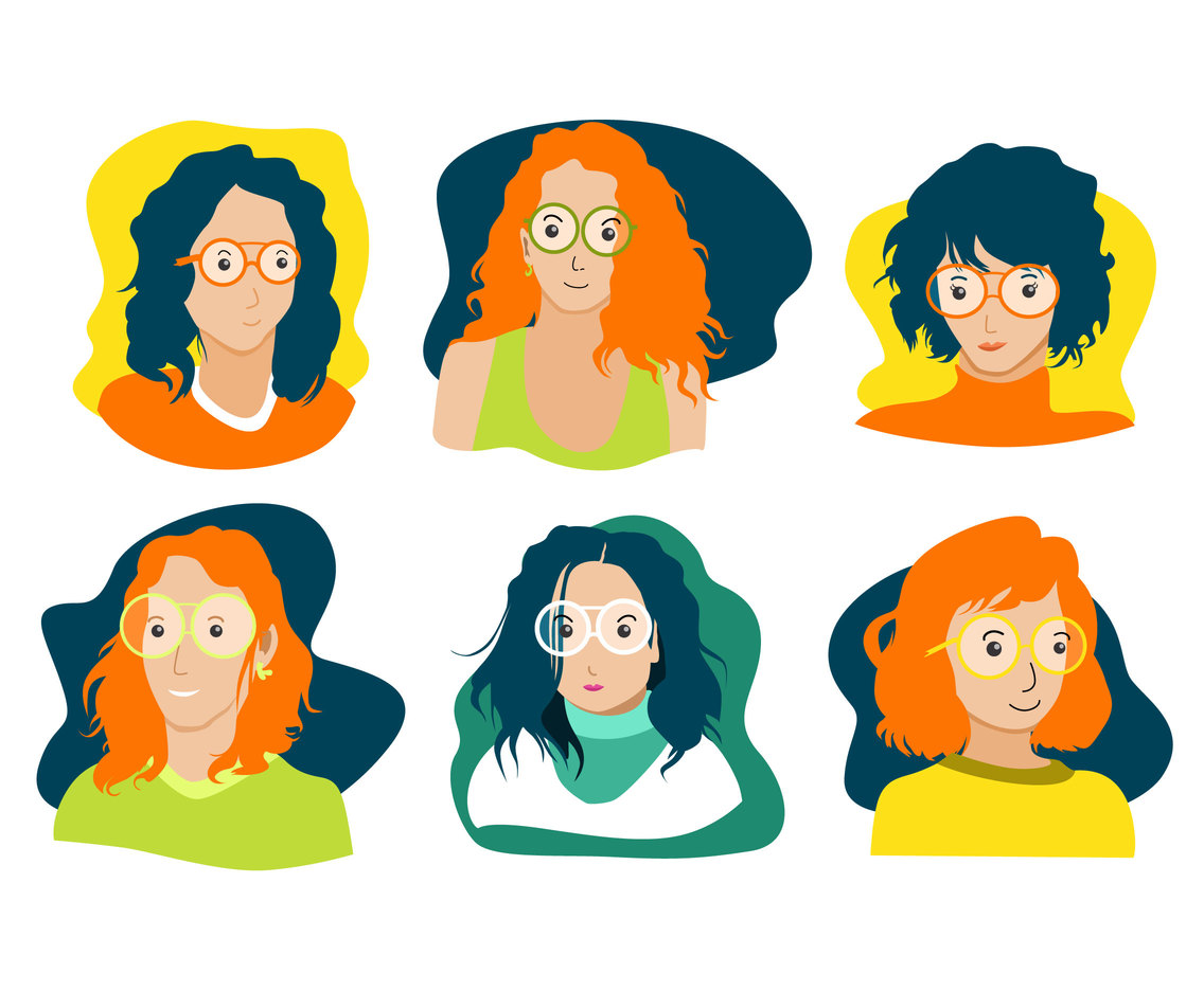 Smart Girl Avatars Vector