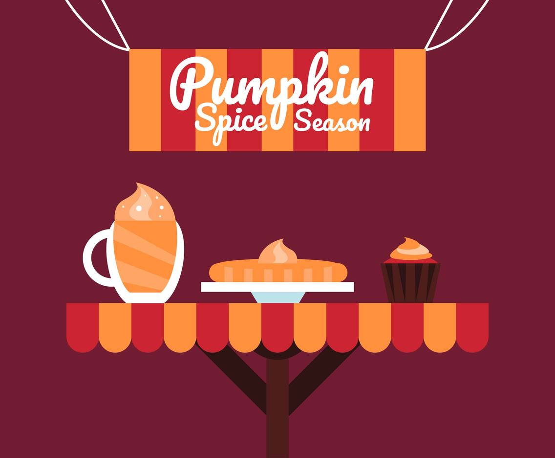 Pumpkin Spice Food Flat Illustration Vector