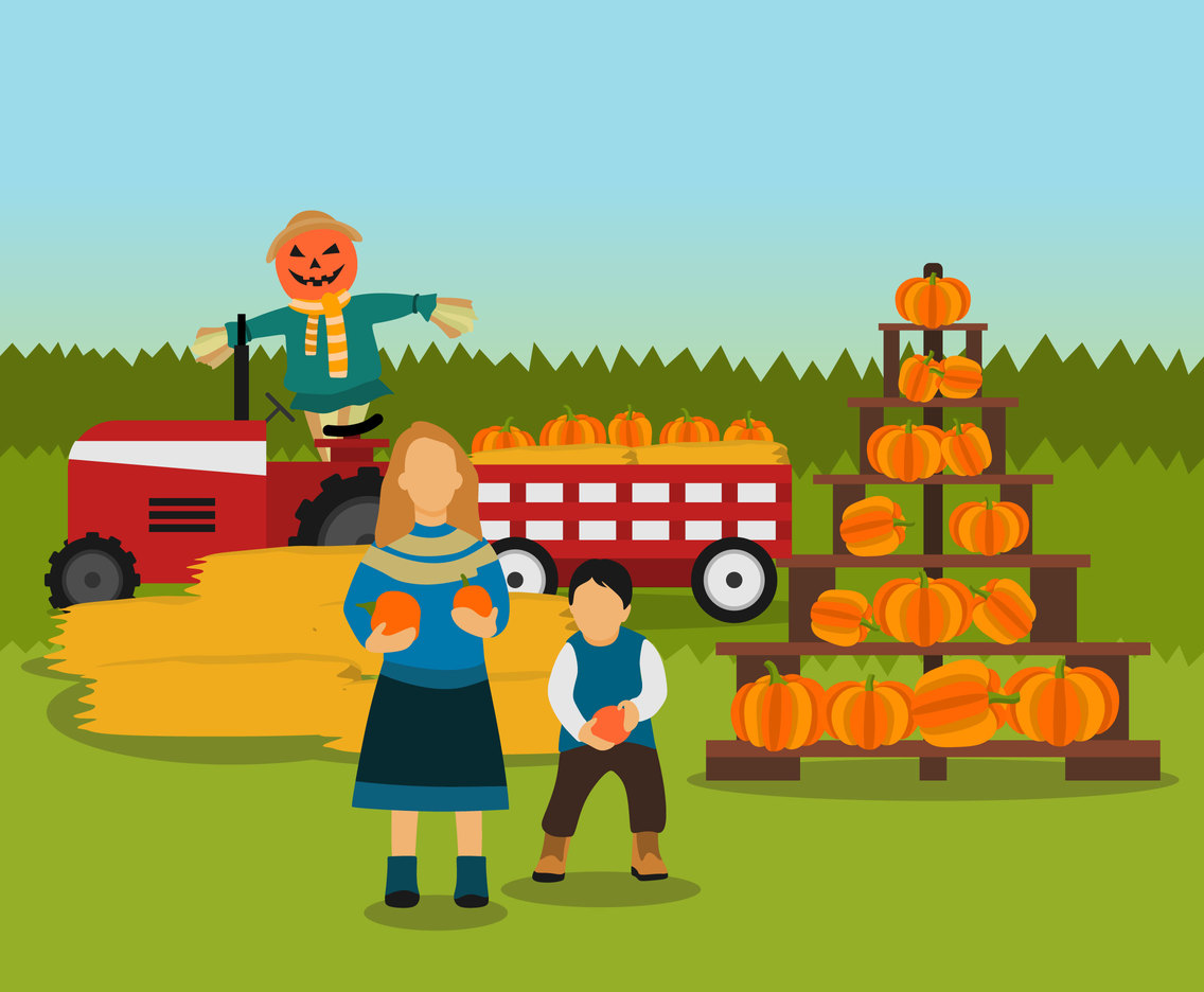 Pumpkin Putting in Fall Festival Vector