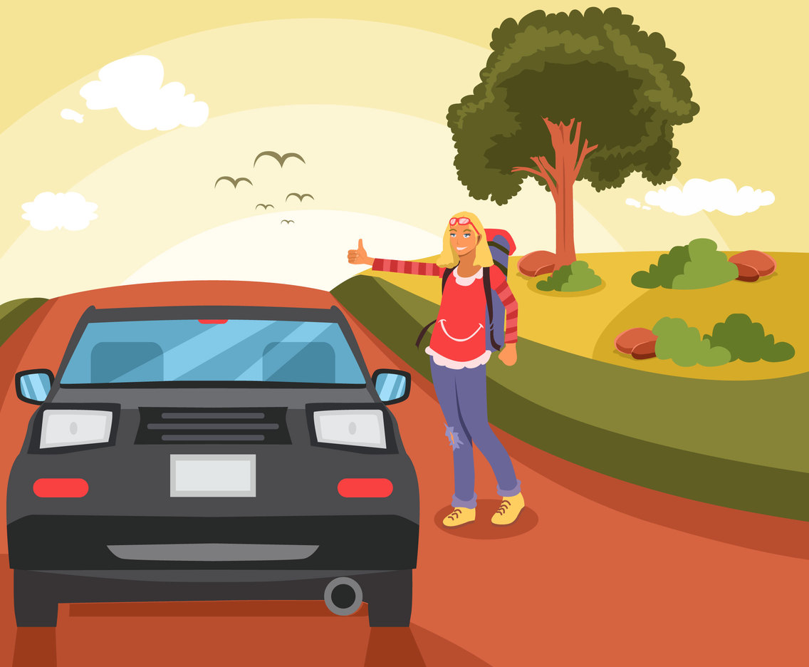 Girl Hitch Hiker Vector