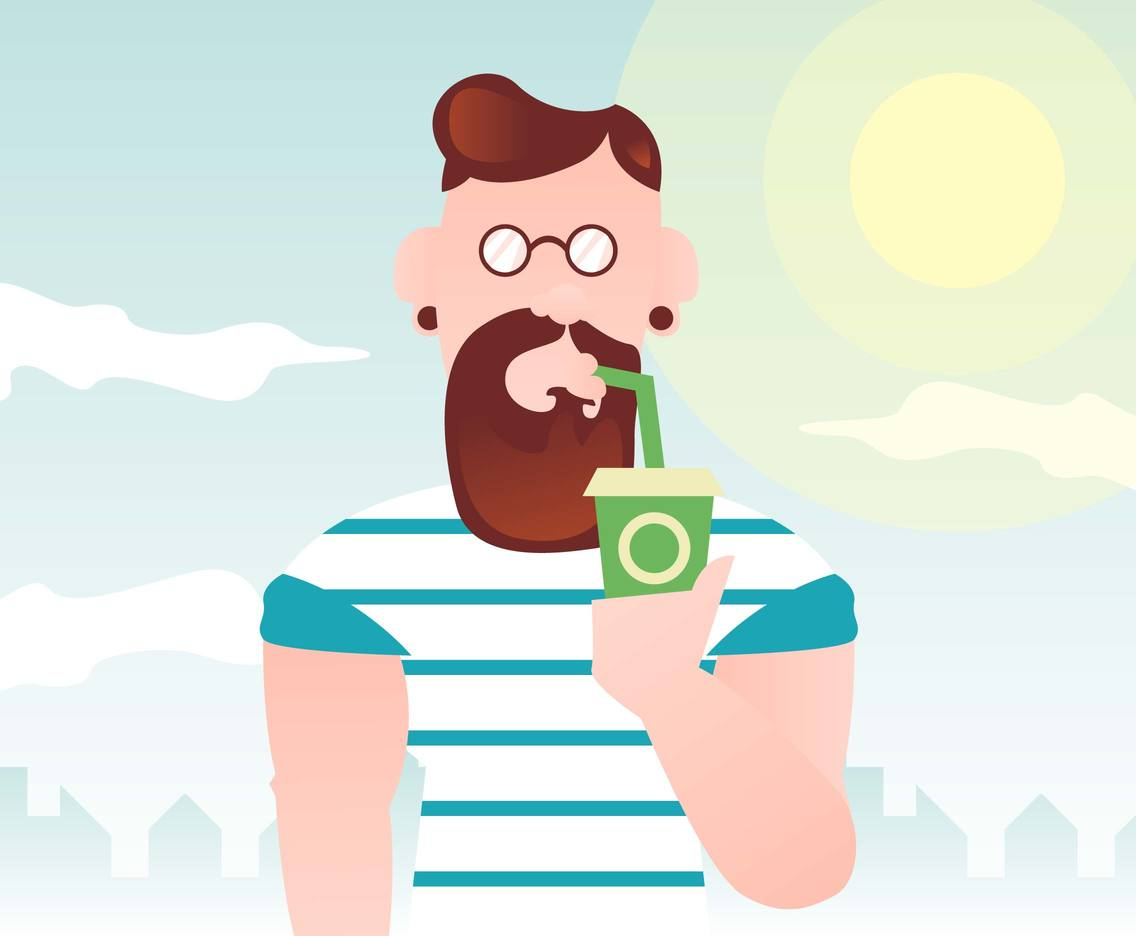 Boy With Glasses Hipster Illustration Vector