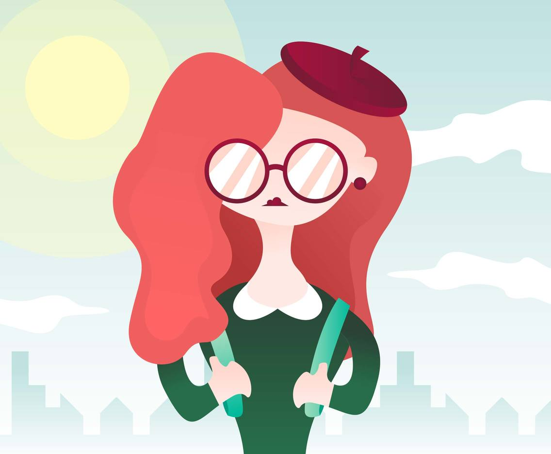 Girl With Wavy Hair And Glasses Illustration Vector