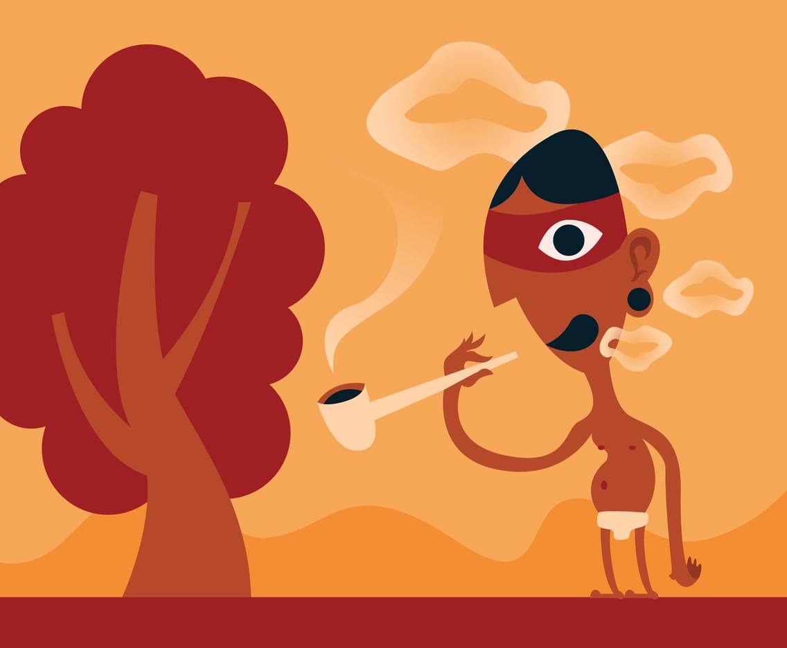 Indigenous People Smoking Pipe Illustration Vector