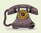 Hand Drawn Rotary Telephone Vector