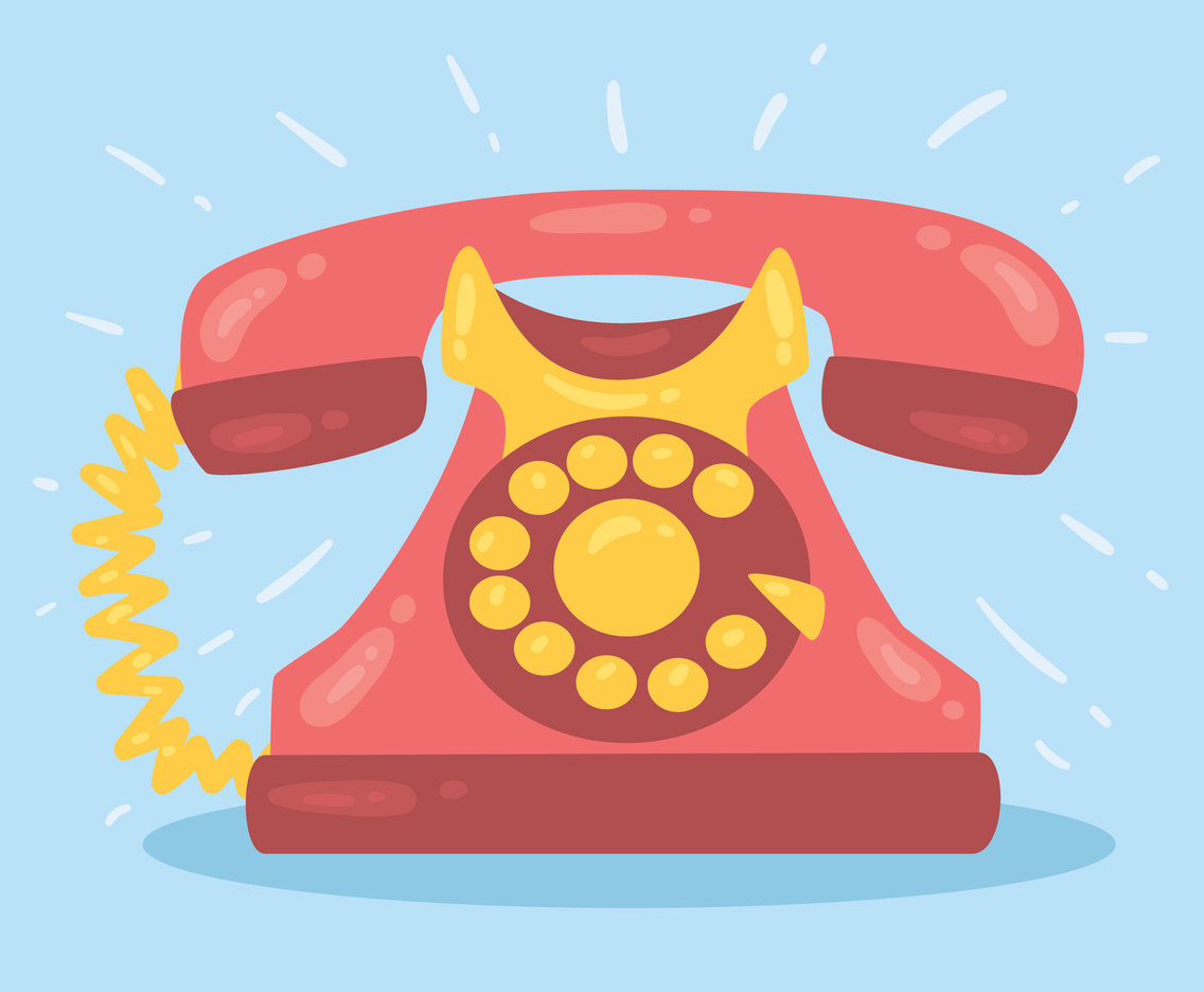 Pink Rotary Telephone Vector