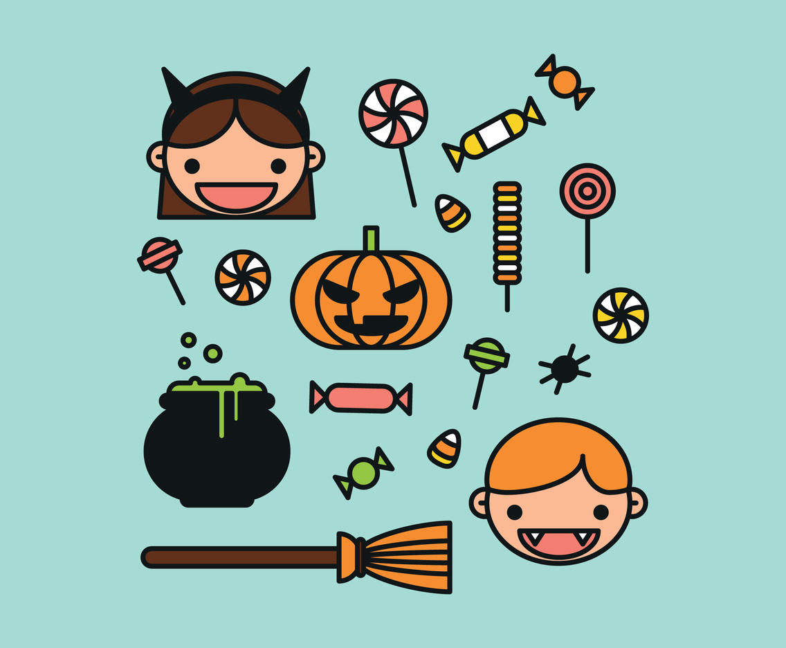 Colorful Outlined Halloween Elements