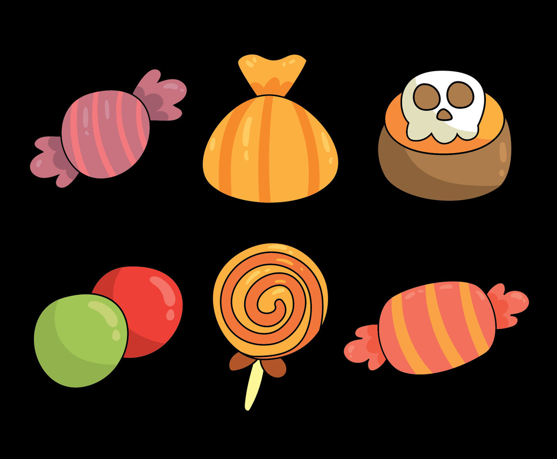 Halloween Candy On Black Vector