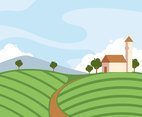 The Vineyard Scenery Vector