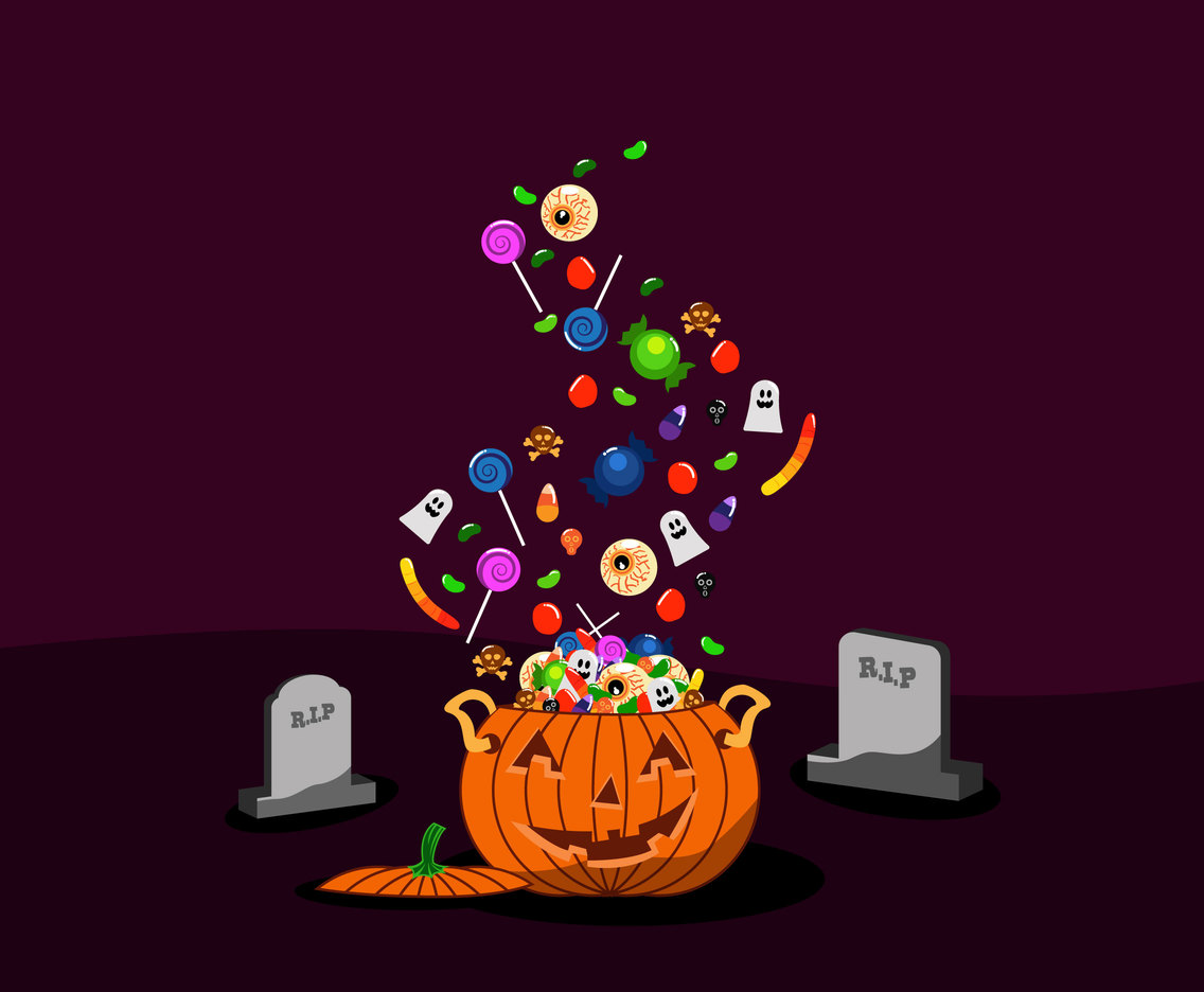 A Pot of Halloween Candies Vector