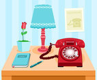 Telephone Desk Vector