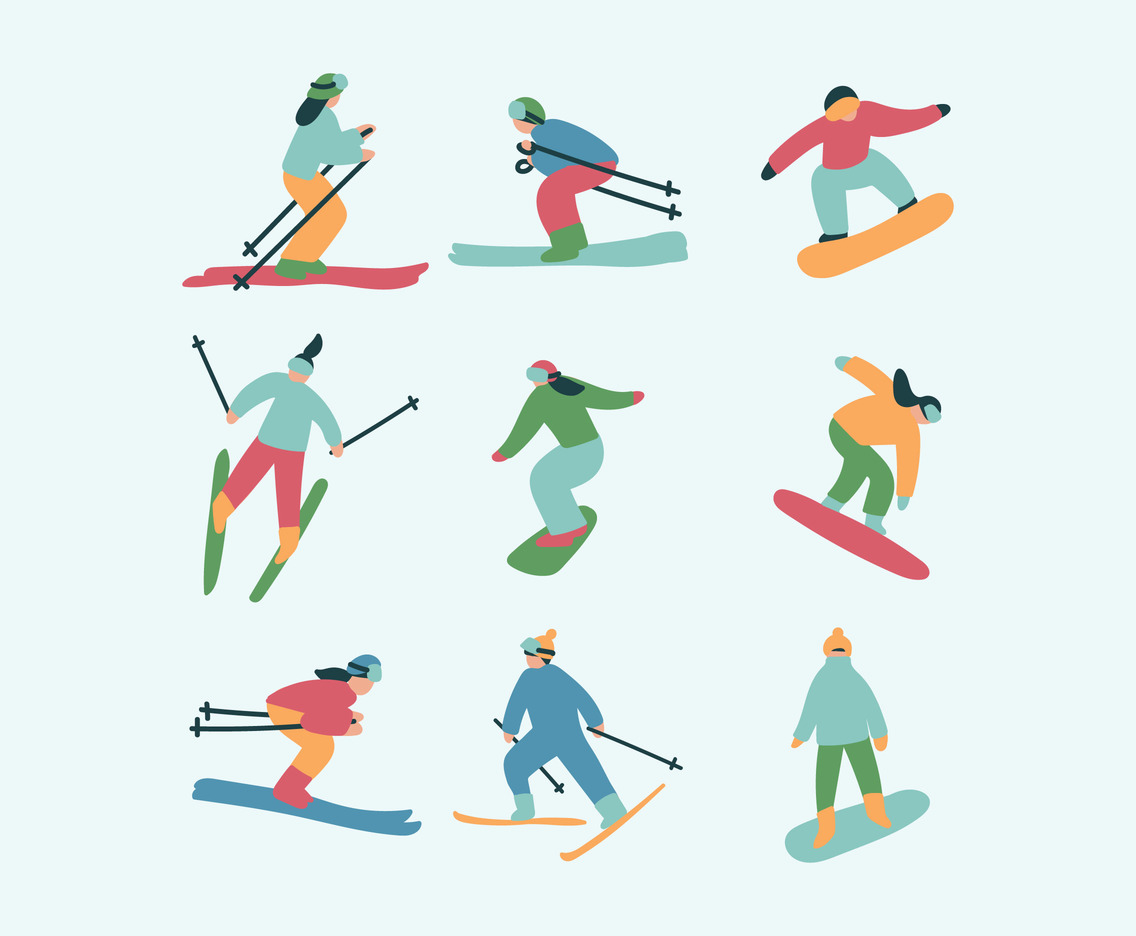 Set Of Skiers