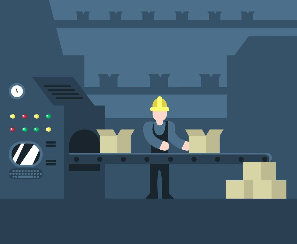 Factory Worker Flat Illustration Vector
