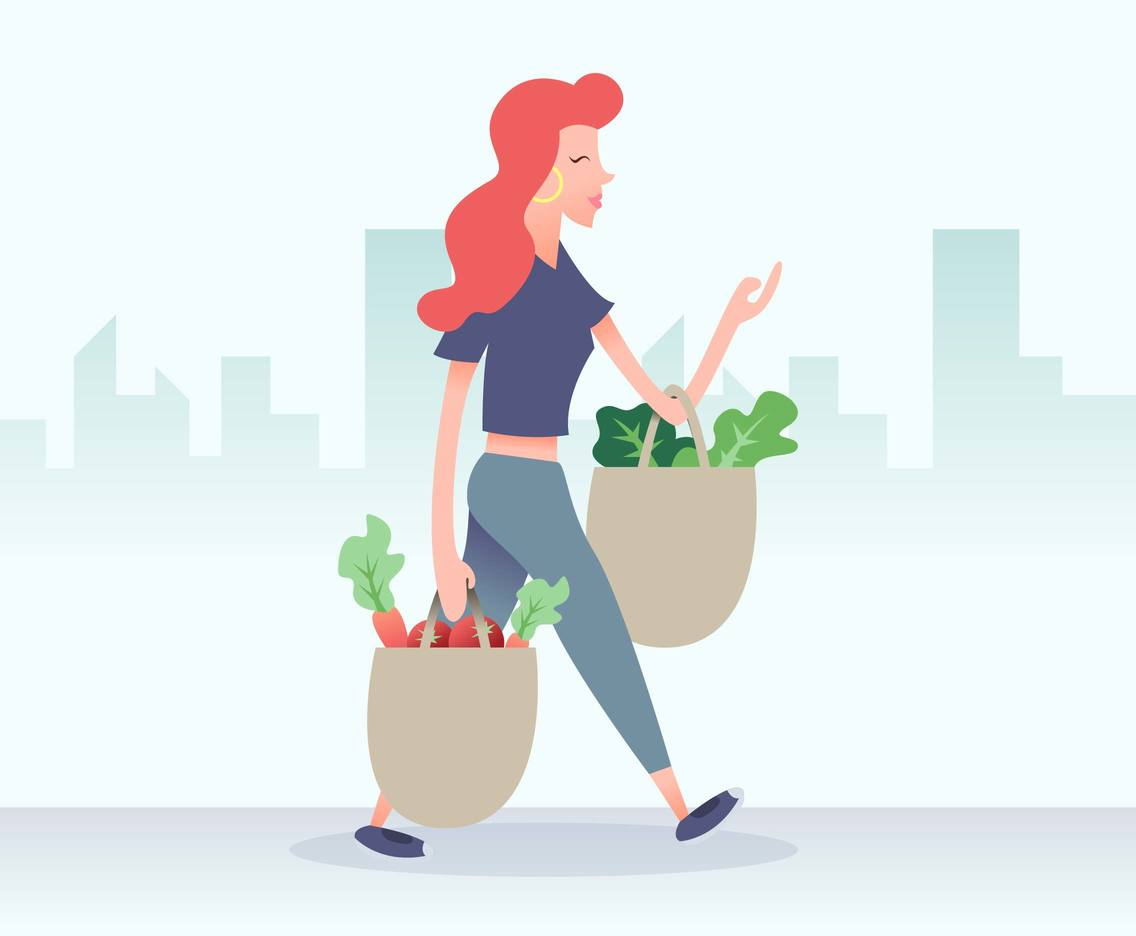 Grocery Shopping Girl Illustration Vector
