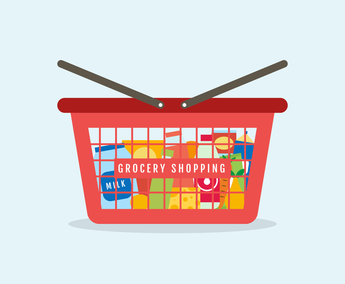 Cute Grocery Shopping Vectors