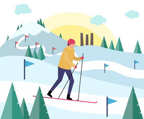 Skiing Man Vector