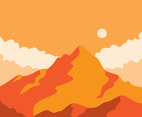 Mountain Landscape In Orange Tone