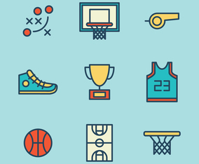 Set Of Icons For Basketball Lovers